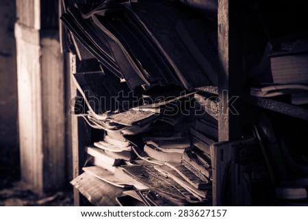 Dusty library - stock photo