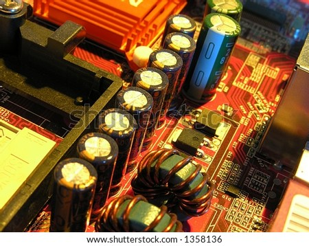 dusty microcircuit - stock photo