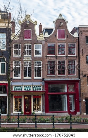 Dutch architecture in Amsterdam - stock photo