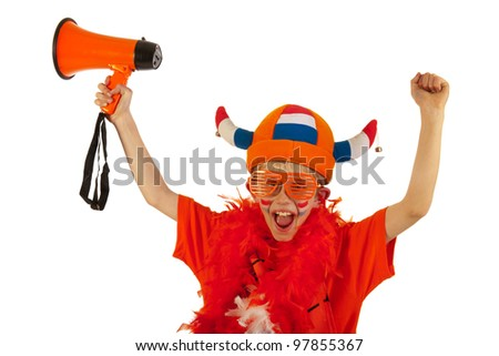 Dutch boy as orange soccer fan - stock photo