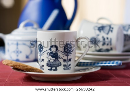 Dutch cup of coffee with a cookie - stock photo