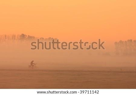 Dutch cyclist at sunrise in the fog. - stock photo