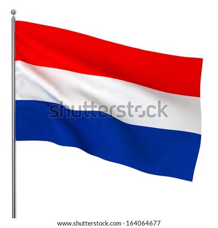 Dutch flag. 3d illustration on white background  - stock photo
