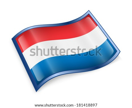 Dutch Flag icon, isolated on white background. - stock photo