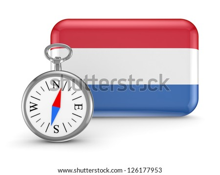 Dutch flag.Isolated on white background.3d rendered. - stock photo