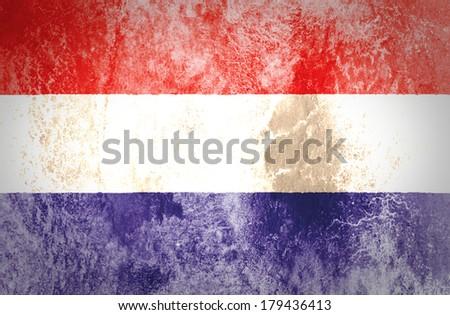 Dutch Flag on grunge Paper  - stock photo