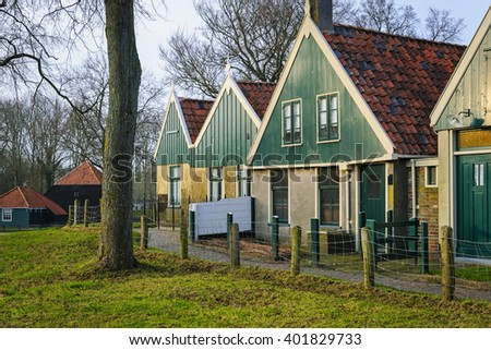 Dutch houses in the Open Air Museum in Enkhuizen, The Netherlands - stock photo