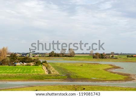 Dutch landscape on Schouwen-Duiveland at Zeeland - stock photo