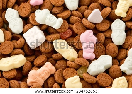 Dutch pepernoten and candy for the traditional 'Sinterklaas' celebration in The Netherlands  on December 5. - stock photo