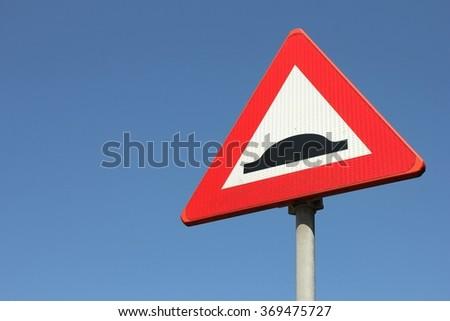 Dutch road sign: speed bump - stock photo