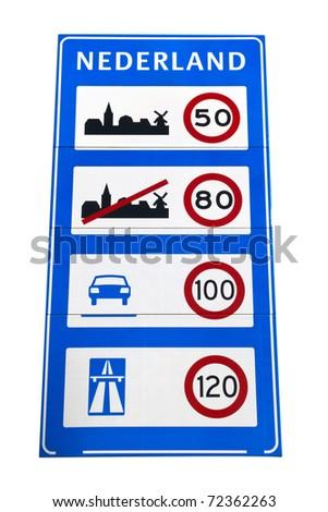 Dutch speedlimit sign at the Dutch borders - stock photo