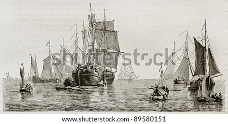 Dutch vessels and boats in Amsterdam seaport. Created by Colignon, published on Magasin Pittoresque, Paris, 1844 - stock photo