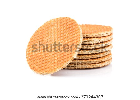 Dutch waffle isolated on a white background - stock photo