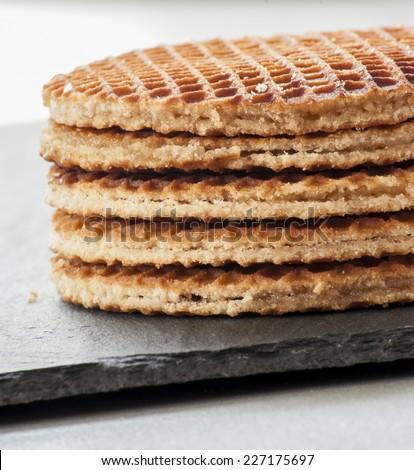 Dutch Waffles close up - stock photo