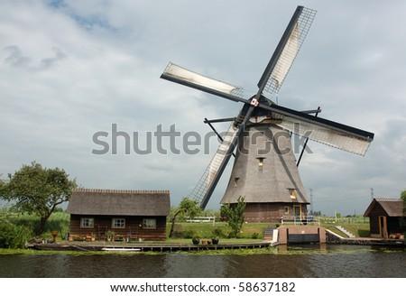 Dutch windmill in Kinderdijk, Netherlands - stock photo