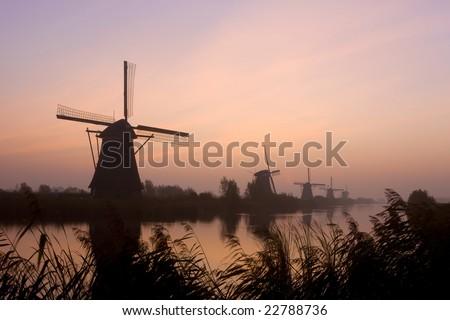 Dutch windmill park, Kinderdijk - stock photo
