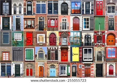 Dutch windows and doors - stock photo
