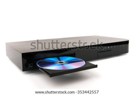 DVD, CD disk insert to dvd player - stock photo