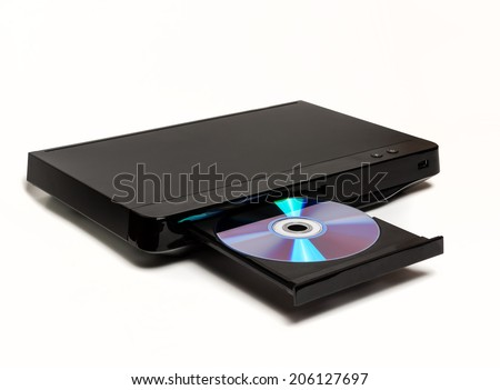 DVD CD MP3 JPEG player isolated on white background - stock photo