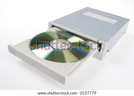 DVD drive with disk, computer device - stock photo