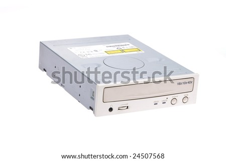 DVD driver on white background - stock photo