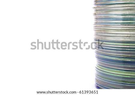 dvd group stacked on a white background - stock photo