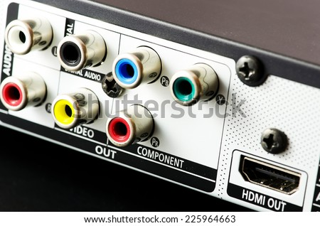 DVD player audio connectors. - stock photo