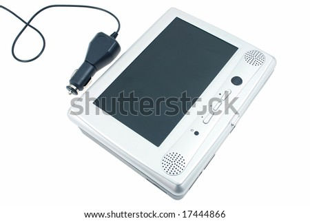 dvd player for car on white - stock photo