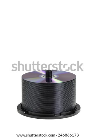 DVD-ROM stack isolated on white - stock photo