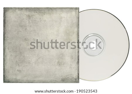 DVD with grungy white sleeve on a white background and copy space. - stock photo