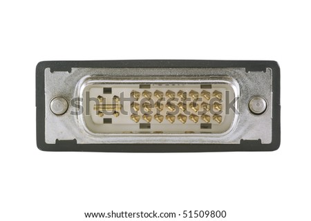 DVI Connection isolated on white with clipping path - stock photo