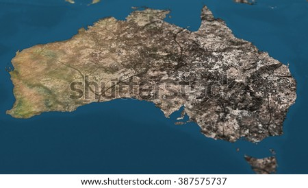 Dying Earth Global Warming Heavy Pollution Affected and Dried Australia Illustration - stock photo