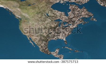 Dying Earth Global Warming Heavy Pollution Affected and Dried North America Illustration - stock photo