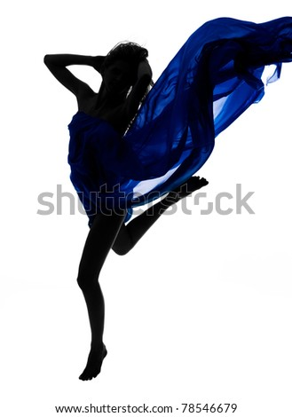 Dynamic, beautiful woman wrapped in blue fabric jumping over white background; a lot of copyspace available. - stock photo
