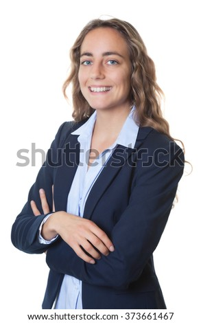 Dynamic blond businesswoman with blue eyes and blazer - stock photo
