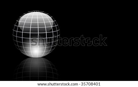 Dynamic chrome sphere with light effects over black background - stock photo