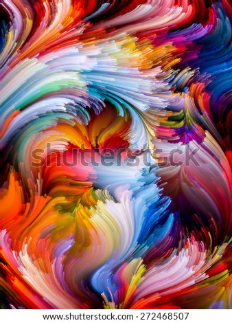 Dynamic Color series. Creative arrangement of streams of paint to act as complimentary graphic for subject of forces of nature, art, design and creativity - stock photo