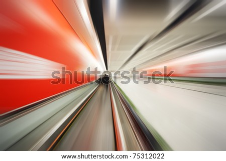 Dynamic colorful motion blur perspective background. - stock photo