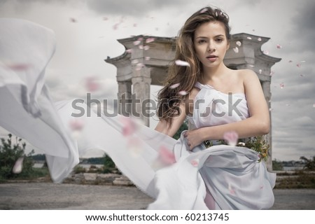 Dynamic image of a beautiful mythic woman - stock photo