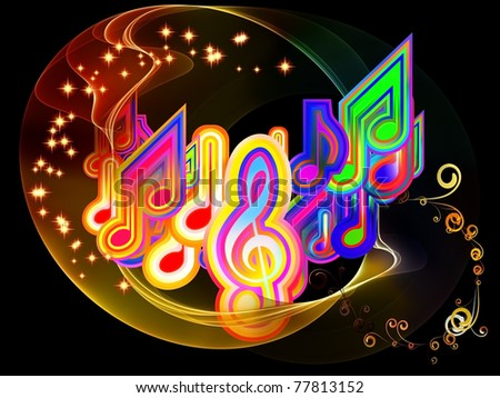 Dynamic interplay of abstract color forms and musical symbols on the subject of entertainment, sound and music - stock photo