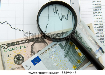 dynamics of exchange rates. Dollar and euro chart - stock photo