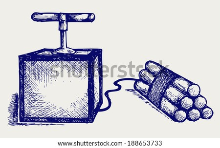 Dynamite bomb with timer. Doodle style. Raster version - stock photo