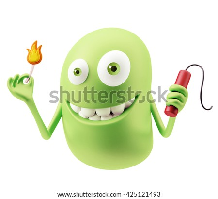 Dynamite Emoticon Character Face Expression. 3d Rendering. - stock photo