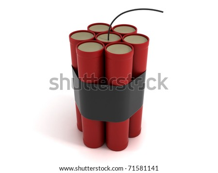 Dynamite. Seven Bomb Sticks Isolated on White Background - stock photo