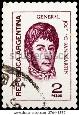 DZERZHINSK, RUSSIA - FEBRUARY 04, 2016: A postage stamp of ARGENTINA shows Jose de San Martin, General, circa 1973 - stock photo