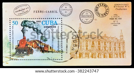 DZERZHINSK, RUSSIA - FEBRUARY 11, 2016: A postage stamp of CUBA shows locomotive, circa 1980 - stock photo