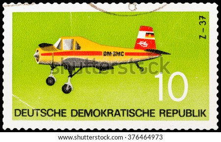 DZERZHINSK, RUSSIA - FEBRUARY 04, 2016: A postage stamp of GERMANY shows plane, circa 1982 - stock photo