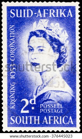 DZERZHINSK, RUSSIA - FEBRUARY 04, 2016: A postage stamp of SOUTH AFRICA shows Queen Elizabeth, to commemorate her coronation 1953, circa 1953 - stock photo