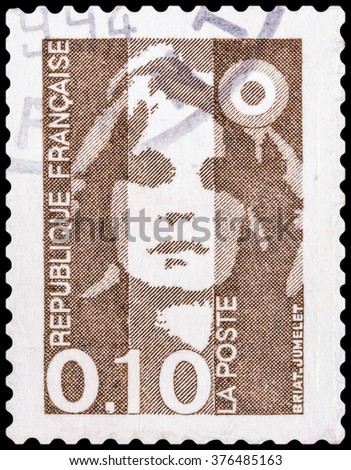 DZERZHINSK, RUSSIA - JANUARY 18, 2016: A postage stamp of FRANCE shows Briat jumelet, circa 1990 - stock photo