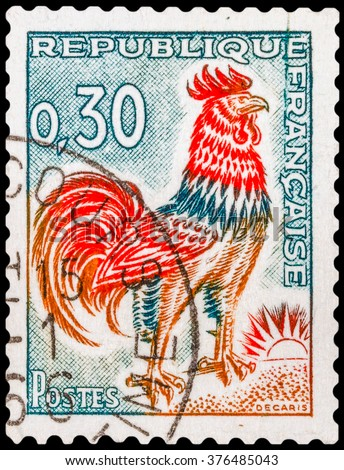 DZERZHINSK, RUSSIA - JANUARY 18, 2016: A postage stamp of FRANCE shows chicken (Coq gaulois), circa 1965 - stock photo